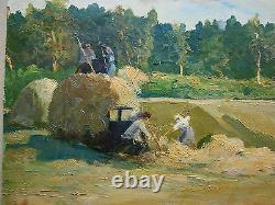 Russian Ukrainian Soviet Oil Painting realism girl farmer figures harvesting