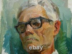 Russian Ukrainian Soviet Oil Painting realism impressionism male portrait man