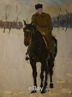 Russian Ukrainian Soviet Oil Painting realism impressionism rider horse
