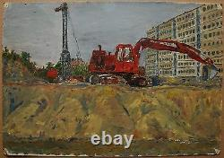 Russian Ukrainian Soviet Oil Painting realism industrial art excavator building