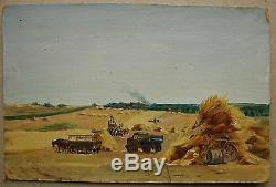 Russian Ukrainian Soviet Oil Painting realism village Landscape harvesting 1950s