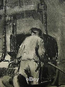 Russian Ukrainian Soviet Painting industria Soc realism manufactory steel 1950s