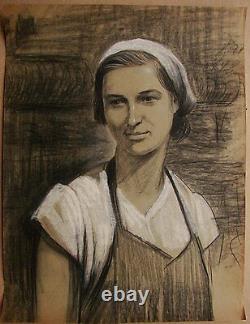 Russian Ukrainian Soviet Painting portrait realism working woman girl 1950s