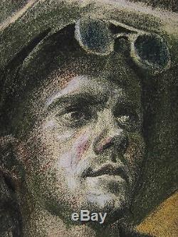 Russian Ukrainian Soviet Painting portrait steel melter realism working man1950s