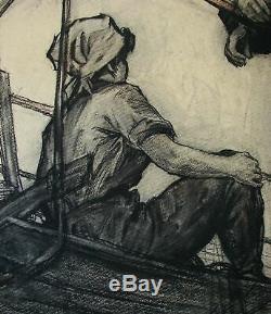 Russian Ukrainian Soviet Painting realism women girl worker ship port 1950s