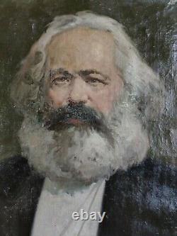 Russian Ukrainian Soviet USSR oil painting realism K. Marx portrait communist