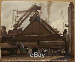 Russian Ukrainian Soviet Watercolor realism industrial painting depot locomotive
