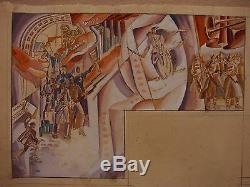 Russian Ukrainian Soviet Worker and Kolkhoz Woman monumental painting sketch