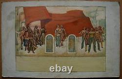Russian Ukrainian Soviet oil Painting sketch mural space history USSR nation