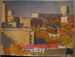 Russian Ukrainian Soviet oil painting Cityscape realism impressionism morning