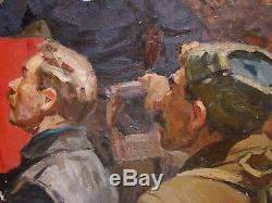 Russian Ukrainian Soviet oil painting Lenin people realism action meeting