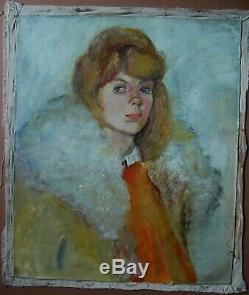 Russian Ukrainian soviet Oil Painting impressionism female portrait girl woman