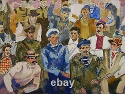 Russian Ukrainian soviet Painting realism group photography people holiday