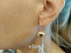 Russian earrings gold ball Solid Rose gold 14K 585 NEW USSR Soviet style 3.7g