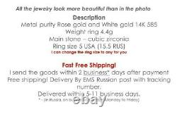 Russian ring gold wide Solid Rose gold 14K 585 4.4g USSR Soviet fine jewelry