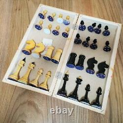 Russian style chess set Wooden hand-painted USSR vintage soviet antique