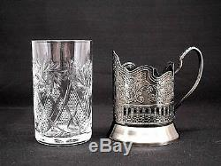 Set of 6 Russian Tea Glass Holders Podstakannik with Soviet Cut Crystal Glasses