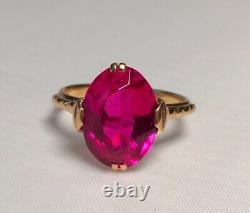 Solid Rose Gold 583 14K Ring Lab Ruby Corundum size 6,5 Vintage Soviet Russian
