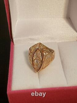 Soviet Antique Ring Vintage Russian USSR Jewelry Gold Star 14K 585 4.84 grams