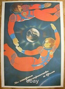 Soviet Original Russian POSTER We Conquer Space and Time USSR cosmonaut 1986