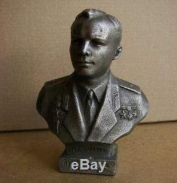 Soviet Russian Bust Gagarin Space astronaut Metal statue kosmos rare