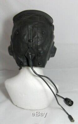 Soviet Russian MiG Pilot Leather Helmet Hat 1984 58cm M + Oxygen Mask Set USSR