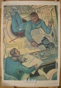 Soviet Russian Original POSTER In the spaceship cabin USSR space cosmonaut print