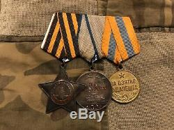 Soviet Russian Researched Order Of Glory Bravery Medal Group