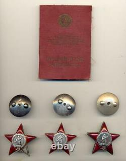 Soviet Russian USSR Complete Documented Group with 3x Orders of Red Star