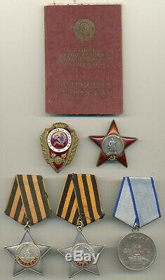 Soviet Russian USSR Complete Documented Group with Two Orders of Glory