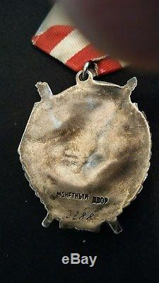 Soviet Russian WWII Order Of The Red Banner 2nd Award RARE! Low Serial 9288
