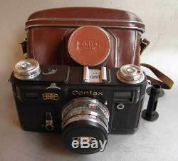 Soviet Russian copy of Contax II Zeiss Ikon BLACK camera with Sonnar lens EXC