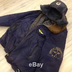 Soviet Russian uniform military pilot Bomber coat (L) jacket + hat