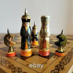 Soviet kids chess set Wooden russian folk art Vintage USSR antique Oriental