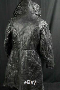 Sz. 54 Soviet NAVY Naval Black Sheepskin Coat Russian ARMY TULUP Fur Coat NKVD