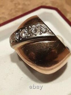 USSR Soviet Russian Gold Ring With Genuine Yakutia Diamonds 14K 583