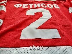 Viacheslav Fetisov #2 USSR CCCP Russian Hockey Replica Jersey Russia embroidered