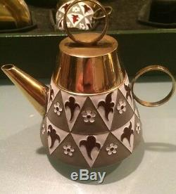Vintage 1960' Russian Silver 916 Soviet Gilt Enamel Tea Set Original Box 954 Gr