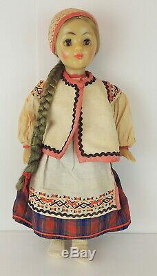 Vintage 1970's Russian USSR March 8th Factory Doll Ethnic Sleepy Eyes Long Braid