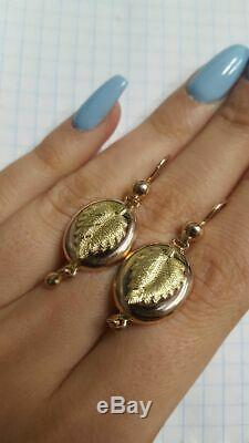 Vintage Classic Chic Earrings Samovars Russian USSR Jewelry Gold 14K 583 5.7 gr