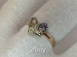 Vintage Original Soviet Russian Alexandrite Rose & White Gold Ring 583 14K USSR