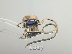 Vintage Original Soviet Russian Blue Corundum Rose Gold Earrings 583 14K USSR