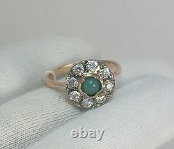 Vintage Original Soviet Russian Natural Turquoise Rose Gold Ring 583 14K USSR