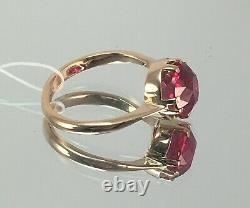 Vintage Original Soviet Russian Ring with Ruby made of rose gold 583 14K USSR