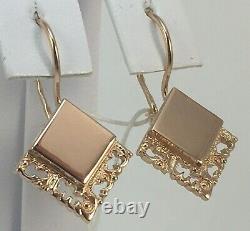 Vintage Original Soviet Russian Rose Gold Earrings 583 14K USSR, Solid Gold 14K