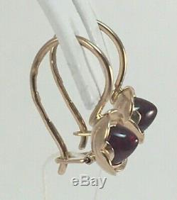 Vintage Original Soviet Russian Rose Gold Ruby Earrings 583 14K USSR, Solid Gold