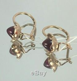 Vintage Original Soviet Russian Rose Gold Ruby Earrings 583 14K USSR, Solid Gold