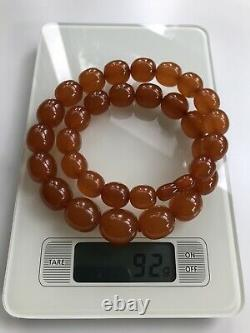 Vintage Outstanding Big Beads Russian Baltic Honey Amber Necklace 92grams Ussr