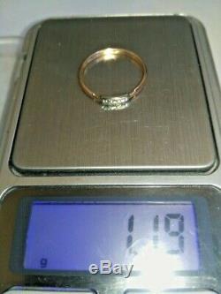 Vintage Ring NATURAL DIAMOND YAKUTIA USSR ROSE & WHITE Gold 583 14K Star Russian
