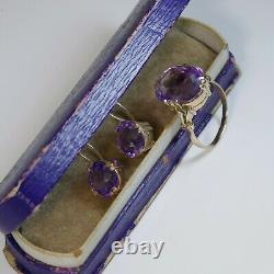 Vintage Russian Amethyst Solitaire Gold Earrings and RING, Soviet Era 1940s